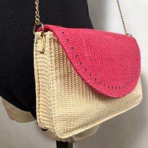 Escada raffia watermelon purse with chain